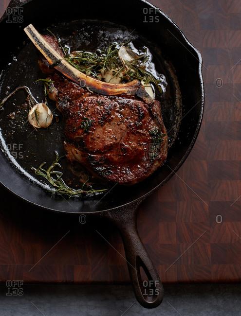 Rib eye steak in a skillet