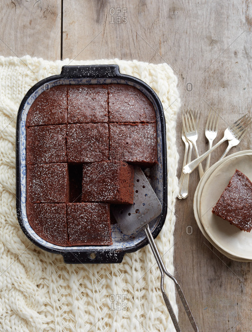 Brownies sliced in a pan