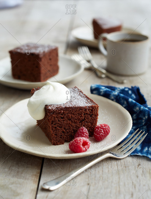 Brownies sliced and served on small plates