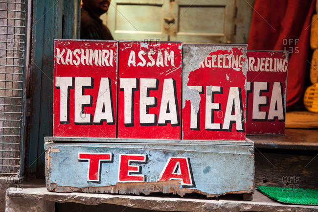 Varanasi, India - February 4, 2016: Tea cans for sale at a shop window