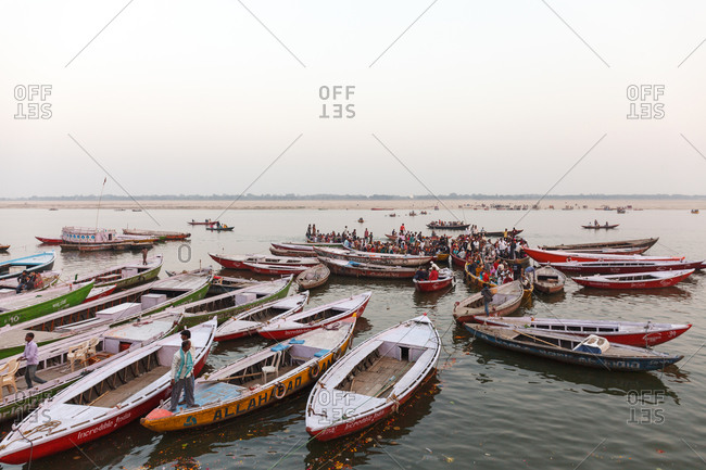 Varanasi, India - February 4, 2016: Boats gathered on the Ganges, Varanasi, India