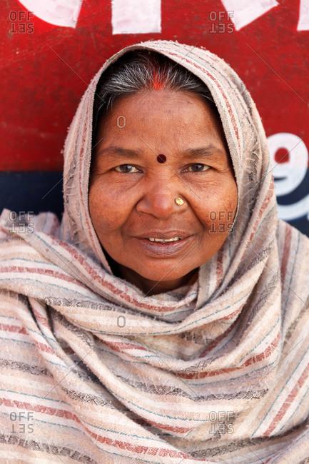 Varanasi, India - February 5, 2016: Portrait of a woman wearing a headscarf
