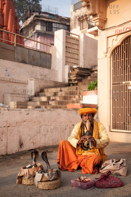 Varanasi, India - February 6, 2016: Cobra snake charmer with two snakes