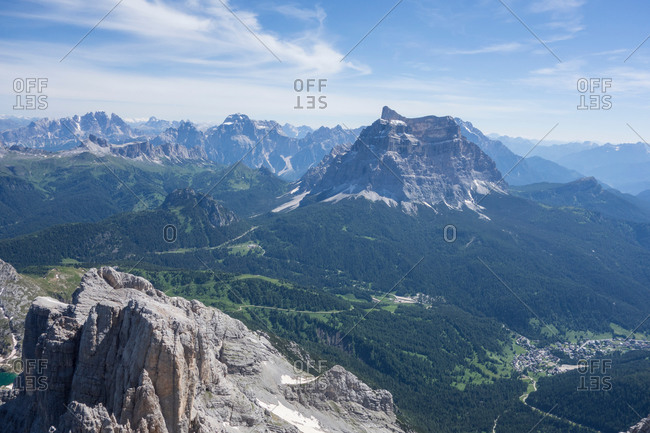 View of mountains and valley, Alleghe, Dolomites, Italy