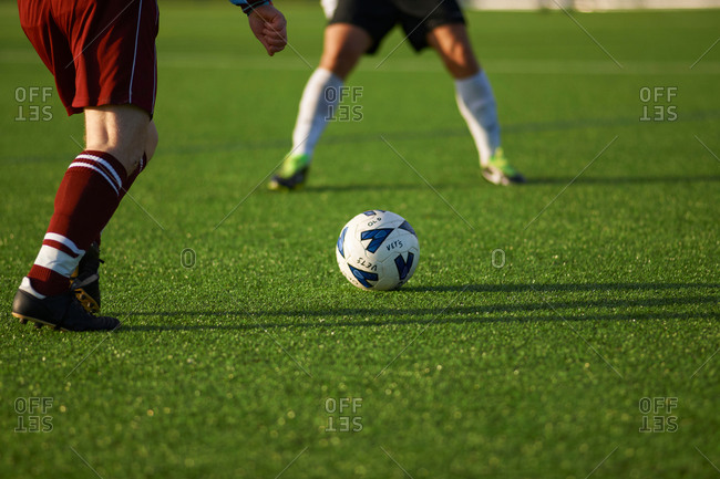 Soccer players during kick off