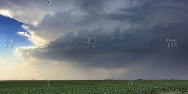 A rotating supercell thunderstorm produces a striated updraft with funnel at its base, Lexington, Nebraska, USA