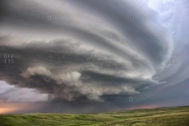 Anticyclonic supercell thunderstorm swirling over the plains, Deer Trail, Colorado, USA