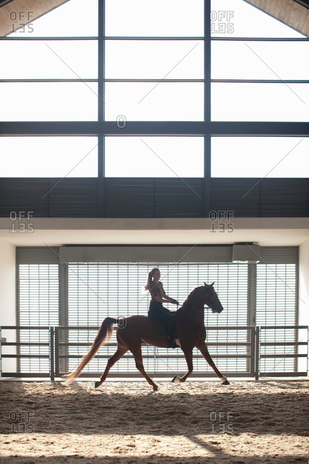 Mid adult woman trotting on chestnut horse in indoor paddock