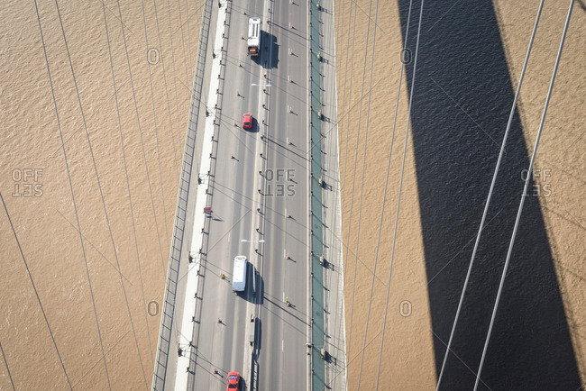 Overhead view of roadway on suspension bridge