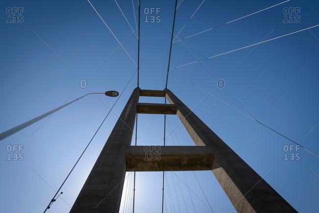 View of the top of suspension bridge