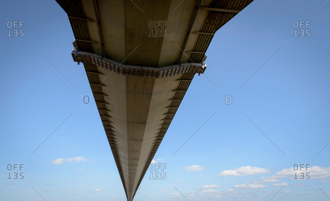 View of the underside of suspension bridge