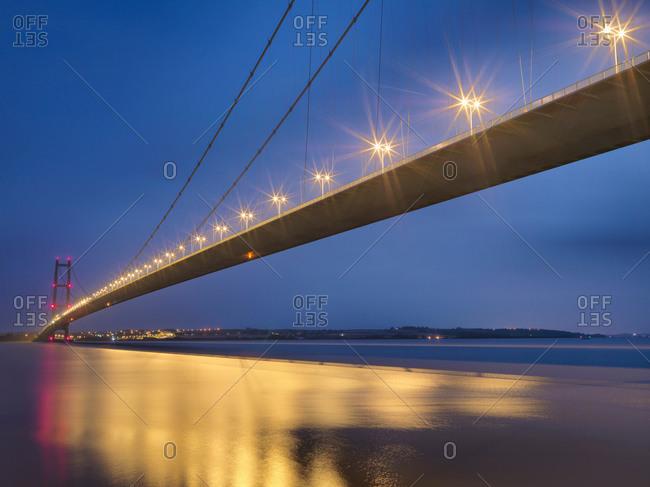 Suspension bridge at night - Offset