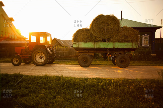 Wagon load of bales of hay, Sarsy village, Sverdlovsk region, Russia