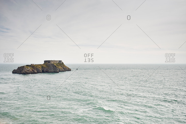 Distant view of St Catherine's Island and fort, Tenby, Wales