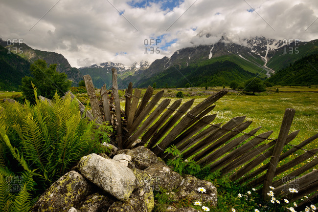 Fence and distant mountains, Mazeri village, Svaneti, Georgia
