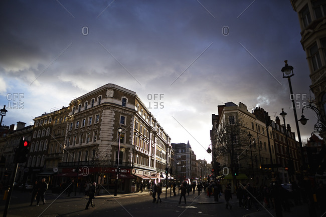 London, England - February 23, 2015: Storm clouds over buildings in downtown London, England