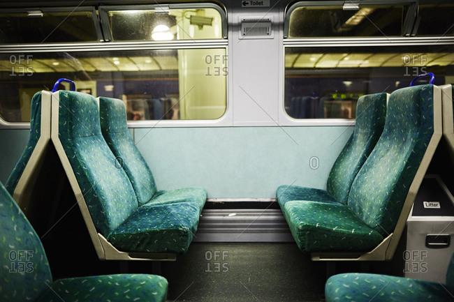 Empty seats on a train