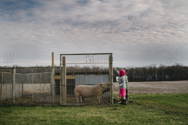 Boy and girl standing outside next to a hog pen