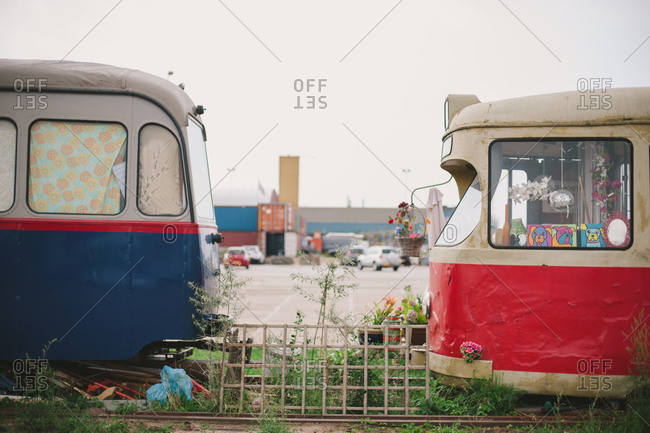 July 31, 2014: Old streetcars in Amsterdam