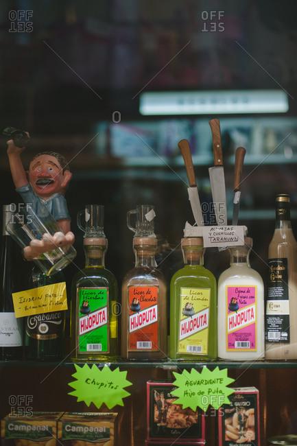 August 25, 2014: Goods in a shop window, Spain