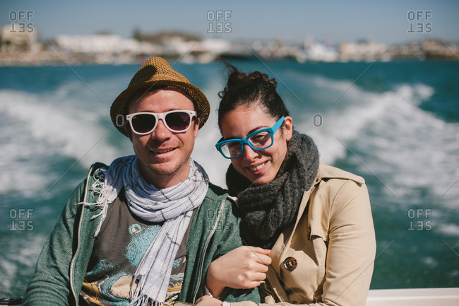 March 6, 2014: Couple riding ferry in Portugal