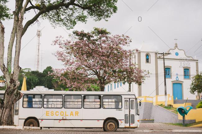 October 29, 2014: Bus near church in Brazil