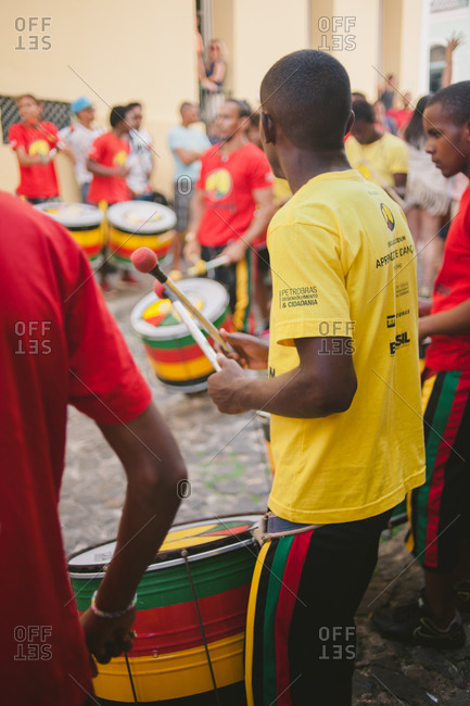 November 8, 2014: People in street playing drums, Brazil