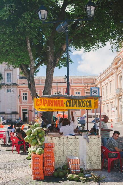 November 8, 2014: Drink stand in Brazilian square