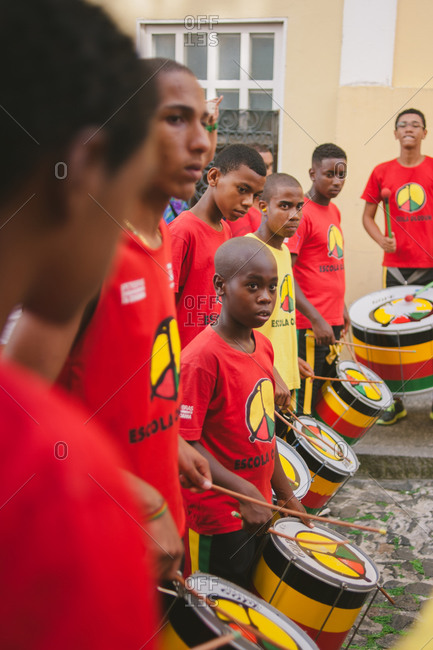 November 8, 2014: Group in street playing drums, Brazil