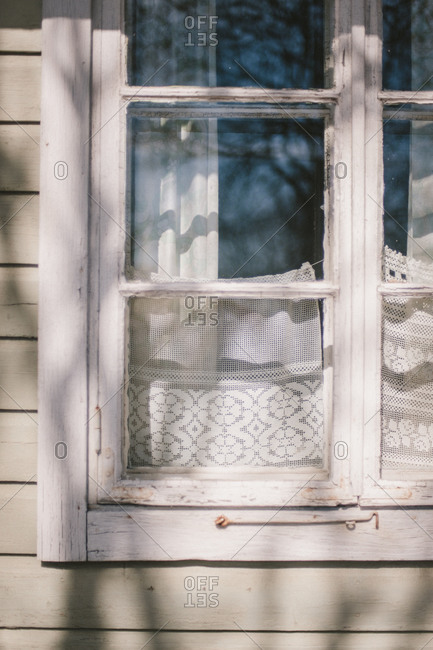 Close up of house window, Finland