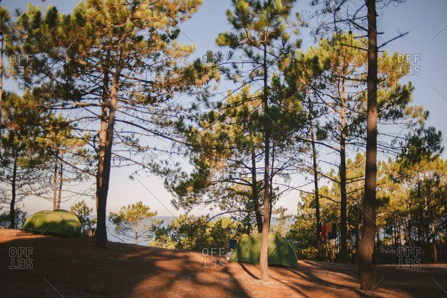 Tents on Portuguese coast