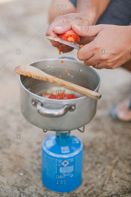 Preparing food for camping