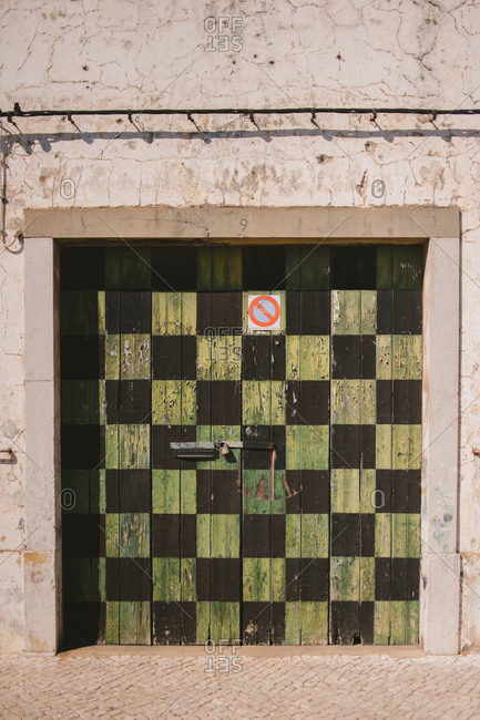Door painted in checked pattern