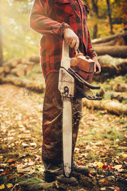 Low section of lumberjack holding chainsaw in forest