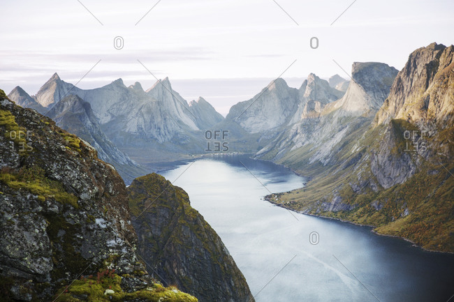 Scenic view of mountains and river