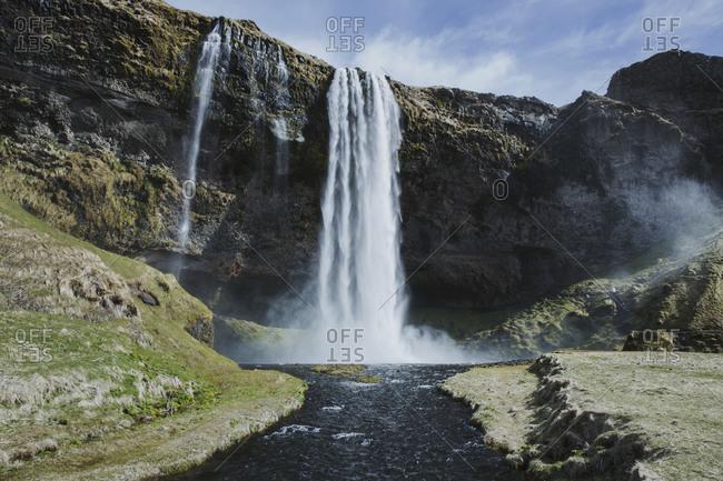 Idyllic view of Skogafoss Waterfall