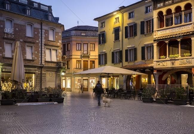 Province of Udine, Italy - March 14, 2016: Paolo Diacono square in Cividale Del Friuli at sunset, Friuli Venezia Giulia, Italy