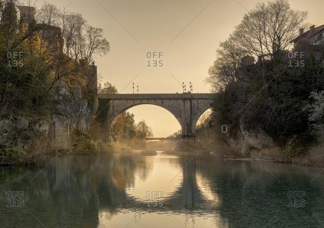 Sunset under the devil's bridge of Cividale del Friuli, Friuli Venezia Giulia , Italy