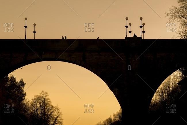 Shilouette of the devil's bridge in Cividale del Friuli, Friuli Venezia Giulia , Italy