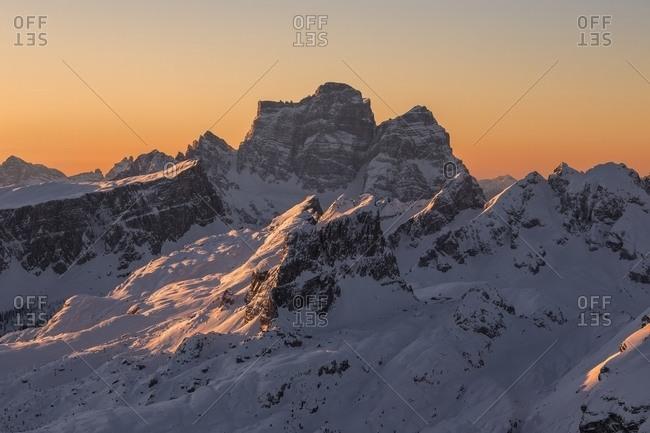 Lastoi de Formin and Mount Pelmo at sunrise from the Lagazuoi refuge, Veneto, Italy