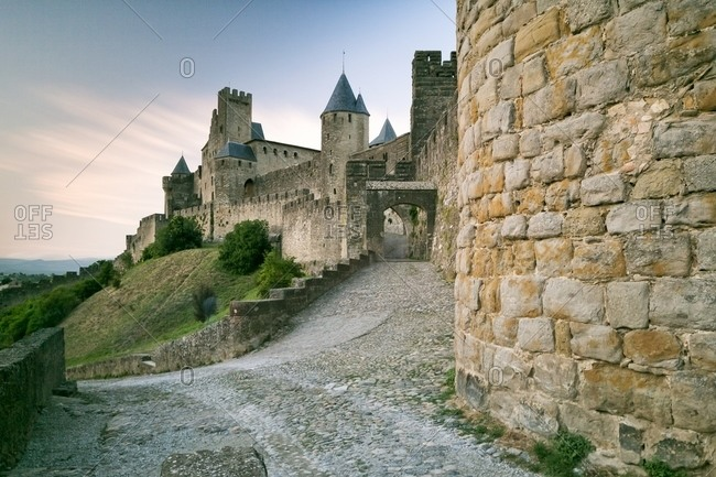 The mediavel ancient city of Carcassonne at sunset, Carcassonne, Languedoc-Roussillon, France