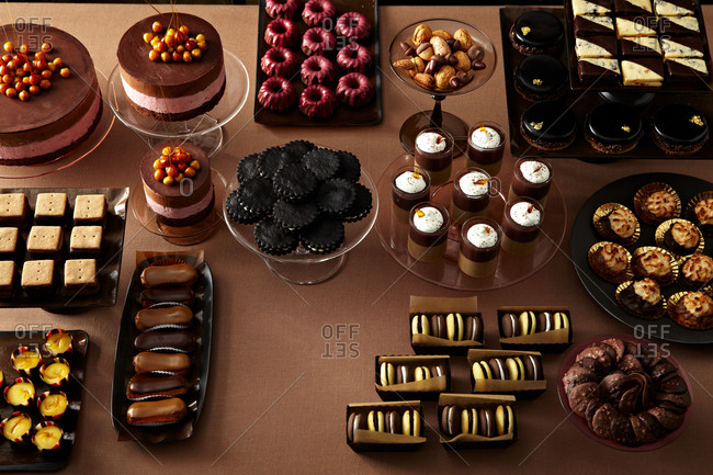 A variety of desserts on a table