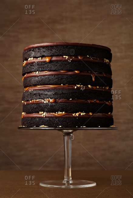 A rich chocolate layered cake with caramel