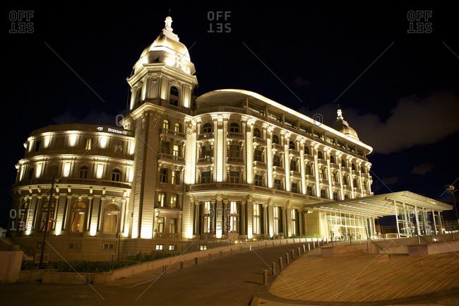 Carrasco, Uruguay - March 16, 2013: Hotel Sofitel at night, Carrasco, Uruguay