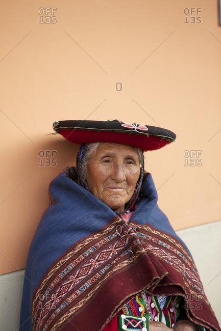 Chinchero, Peru - April 4, 2013: Portrait of a elderly woman in Chinchero, Peru_