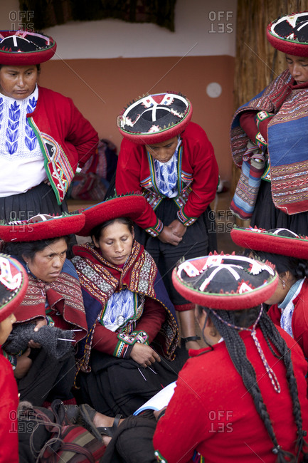Chinchero, Peru - April 4, 2013: A group of woman having a meeting while wearing traditional clothing