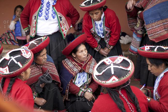 Chinchero, Peru - April 4, 2013: Gathering of woman in traditional clothing, Chinchero, Peru_