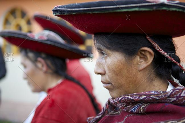 Chinchero, Peru - April 4, 2013: Profile of a woman wearing a hat