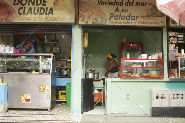 Medellin, Colombia - May 1, 2015: Food stalls at Medellin, Colombia
