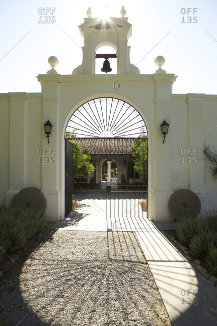 Entrance gate to a hotel in Cafayate, Argentina
